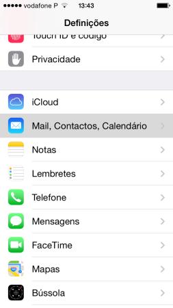 1. iPhone Definições de Email