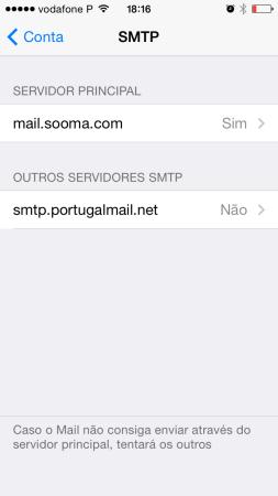 iPhone Definições de Email